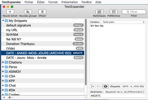 MAC TEXTexpander : Presse papier 2 Snippet