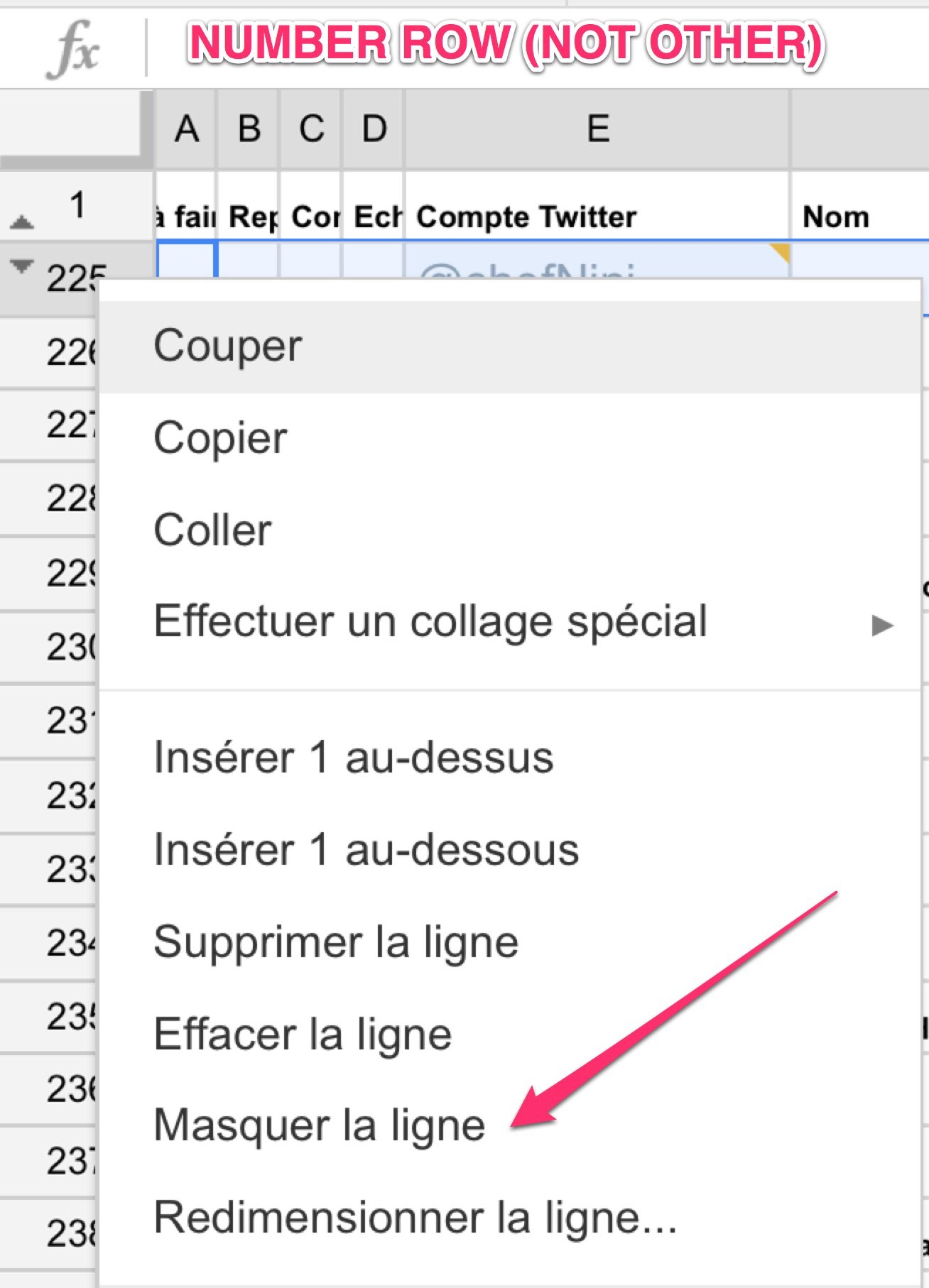 masquer / cacher des lignes dans #Google #Spreadsheet